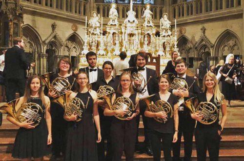Die Horngruppe des Symphonieorchesters der Universität Regensburg